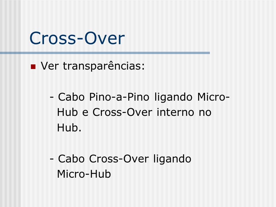 Cross-Over Ver transparências: - Cabo Pino-a-Pino ligando Micro-