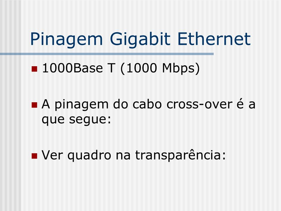 Pinagem Gigabit Ethernet