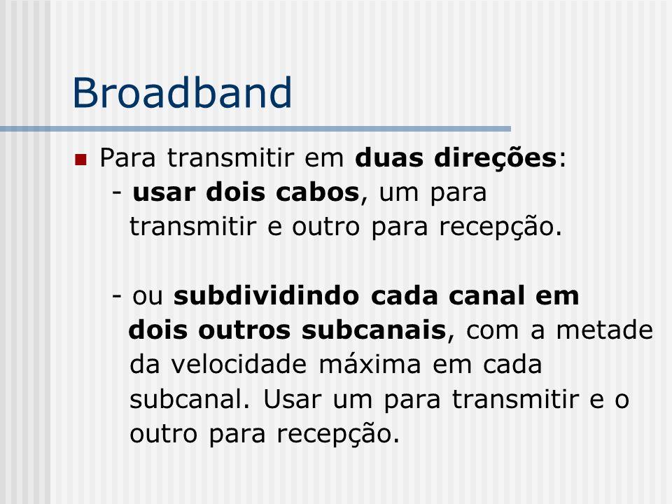 Broadband Para transmitir em duas direções: - usar dois cabos, um para