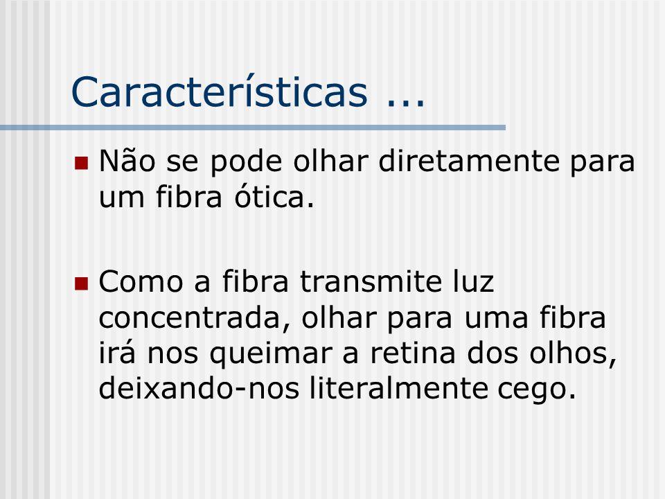 Características ... Não se pode olhar diretamente para um fibra ótica.