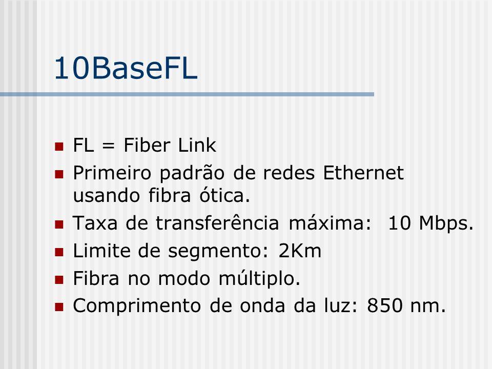 10BaseFL FL = Fiber Link. Primeiro padrão de redes Ethernet usando fibra ótica. Taxa de transferência máxima: 10 Mbps.