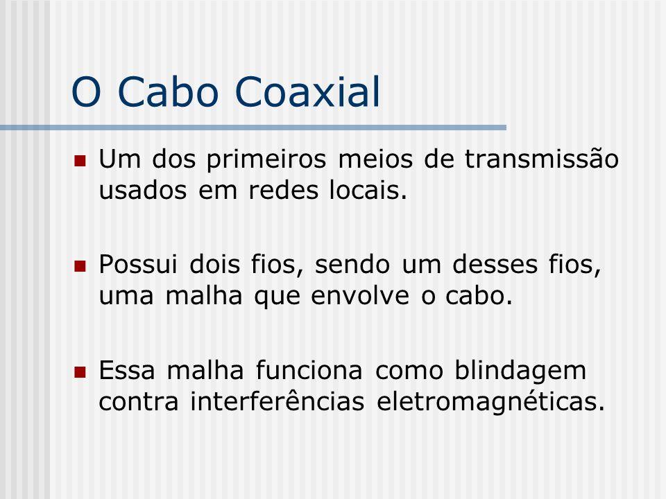 O Cabo Coaxial Um dos primeiros meios de transmissão usados em redes locais. Possui dois fios, sendo um desses fios, uma malha que envolve o cabo.