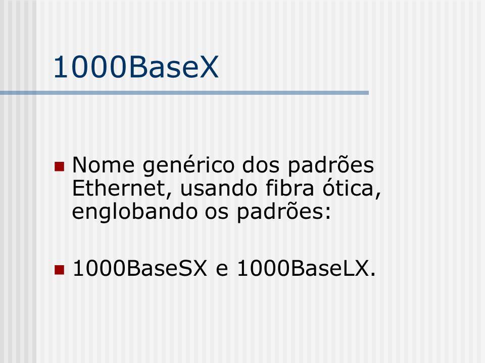 1000BaseX Nome genérico dos padrões Ethernet, usando fibra ótica, englobando os padrões: 1000BaseSX e 1000BaseLX.