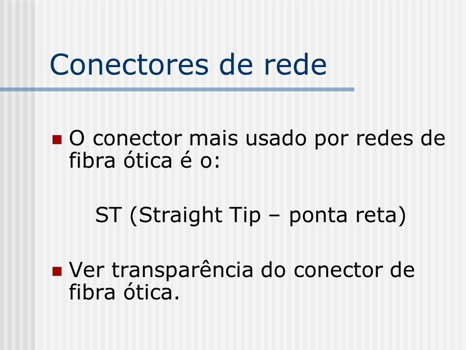 Conectores de rede O conector mais usado por redes de fibra ótica é o: