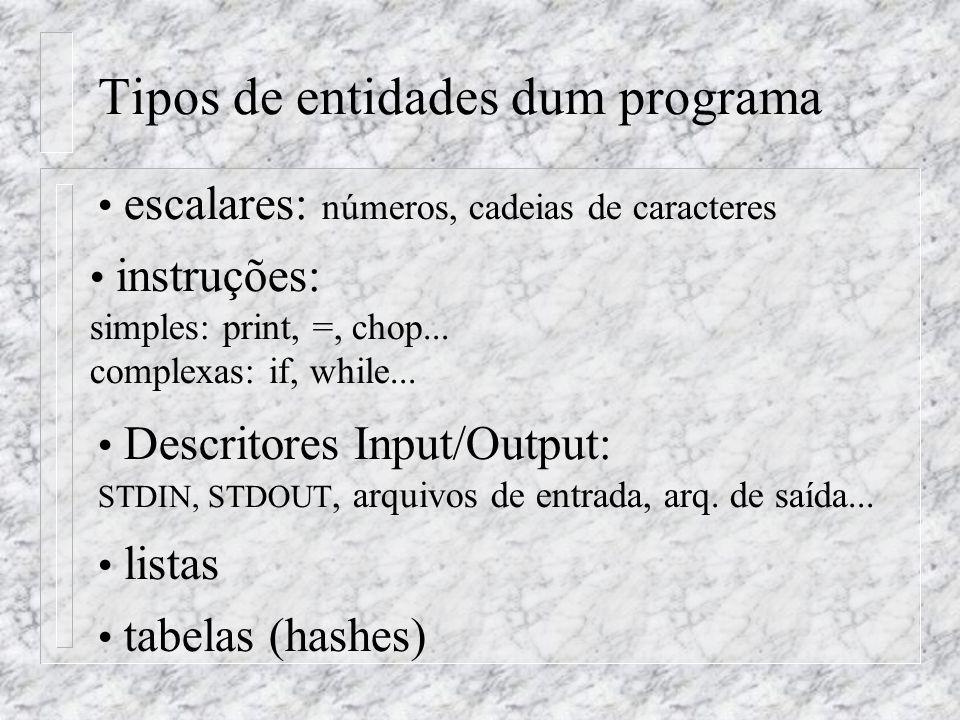 Tipos de entidades dum programa