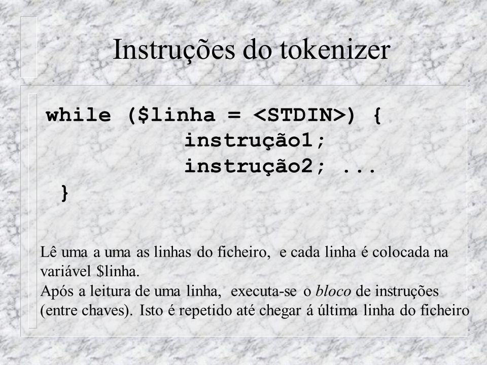 Instruções do tokenizer