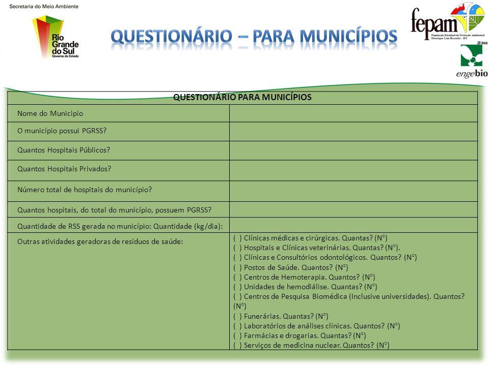 QUESTIONÁRIO PARA MUNICÍPIOS