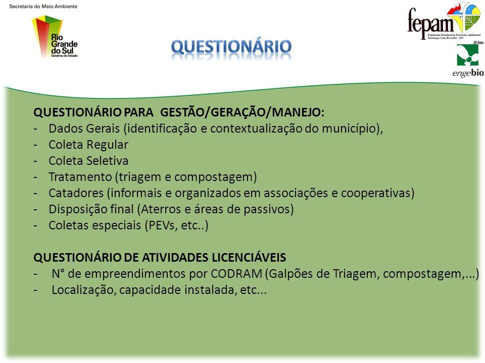 Questionário QUESTIONÁRIO PARA GESTÃO/GERAÇÃO/MANEJO: