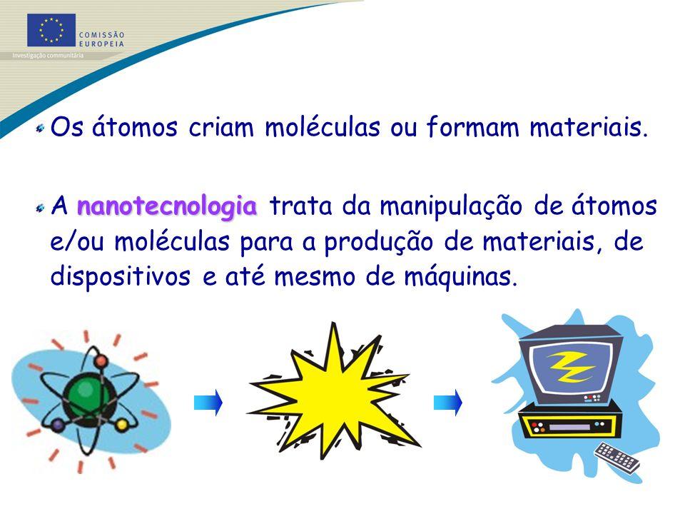 Os átomos criam moléculas ou formam materiais.