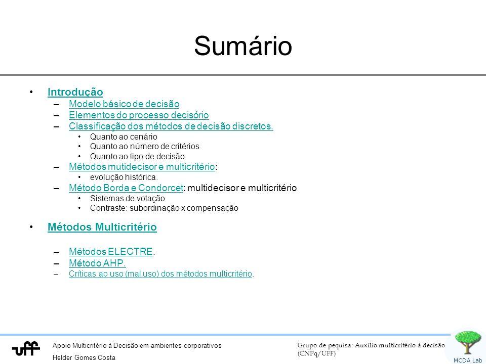 Sumário Introdução Métodos Multicritério Modelo básico de decisão