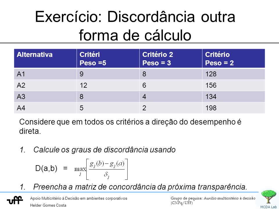 Exercício: Discordância outra forma de cálculo