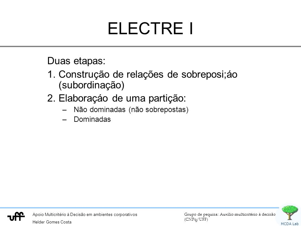 ELECTRE I Duas etapas: Construção de relações de sobreposi;áo (subordinação) Elaboraçáo de uma partição: