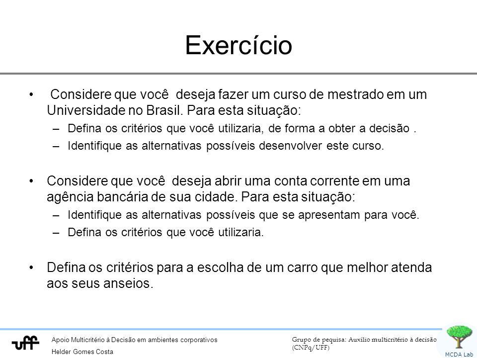 Exercício Considere que você deseja fazer um curso de mestrado em um Universidade no Brasil. Para esta situação: