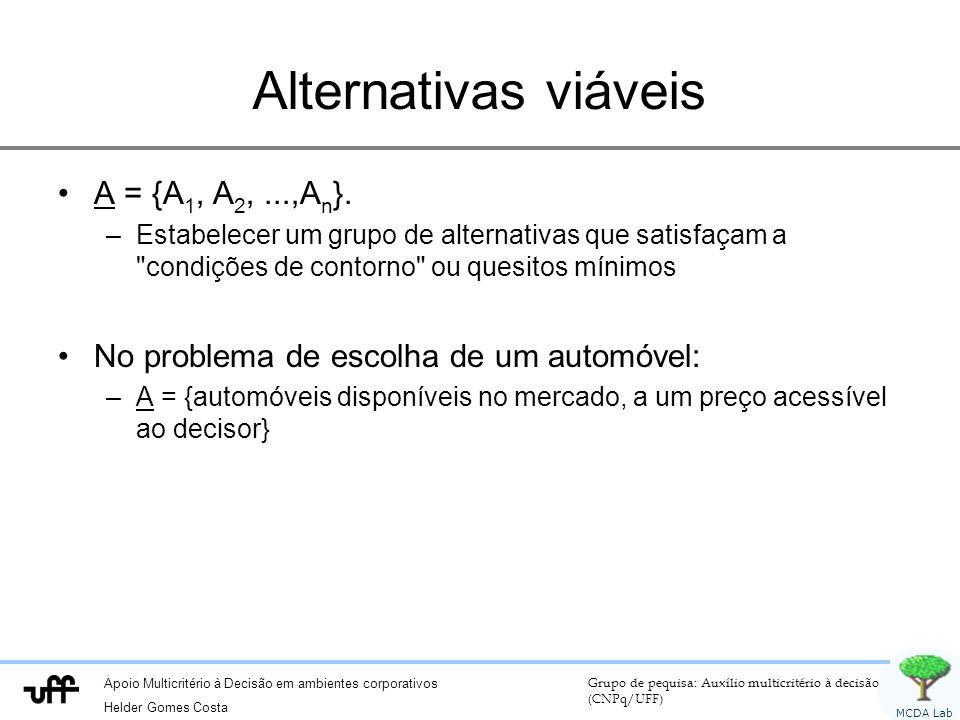 Alternativas viáveis A = {A1, A2, ...,An}.
