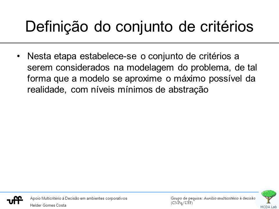 Definição do conjunto de critérios