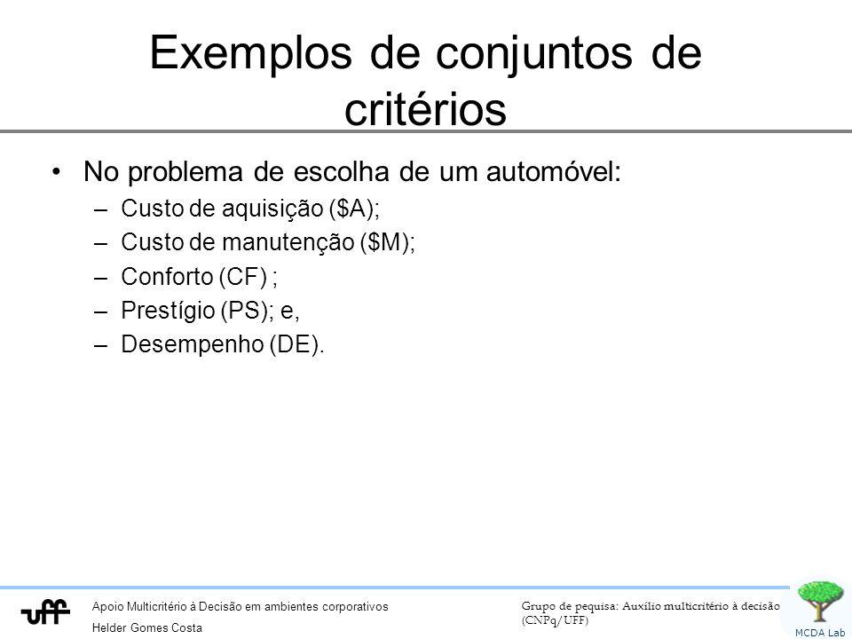 Exemplos de conjuntos de critérios