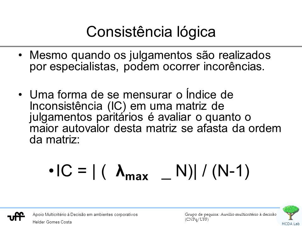 IC = | ( λmax _ N)| / (N-1) Consistência lógica