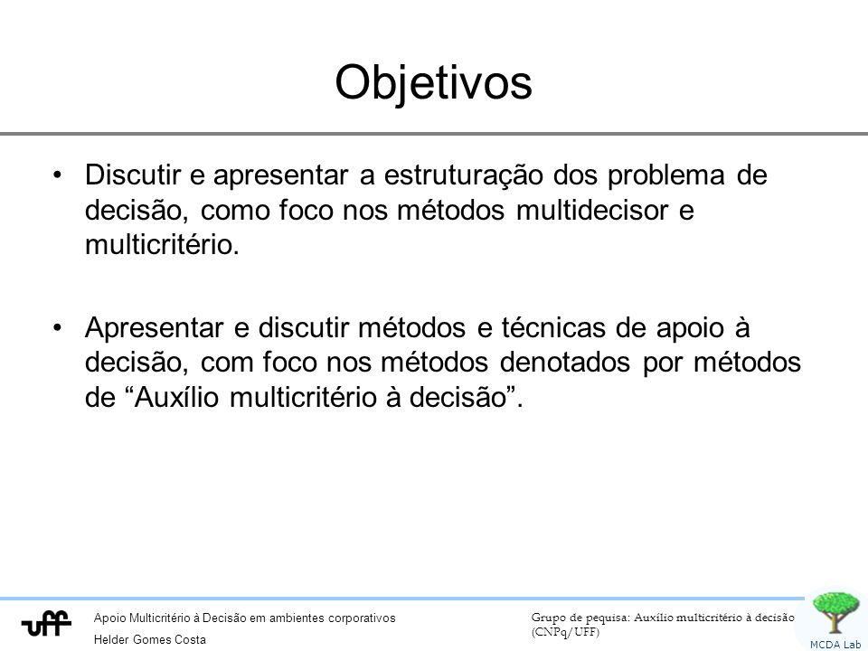 Objetivos Discutir e apresentar a estruturação dos problema de decisão, como foco nos métodos multidecisor e multicritério.
