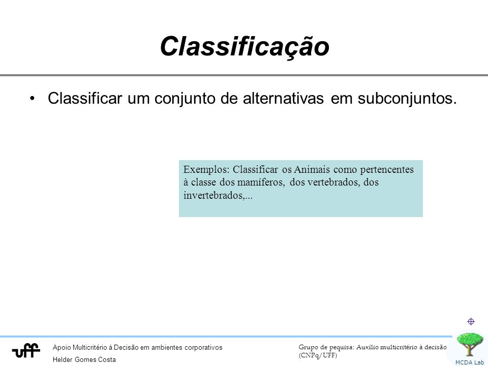Classificação Classificar um conjunto de alternativas em subconjuntos.
