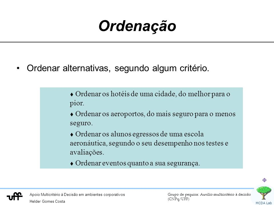 Ordenação Ordenar alternativas, segundo algum critério.