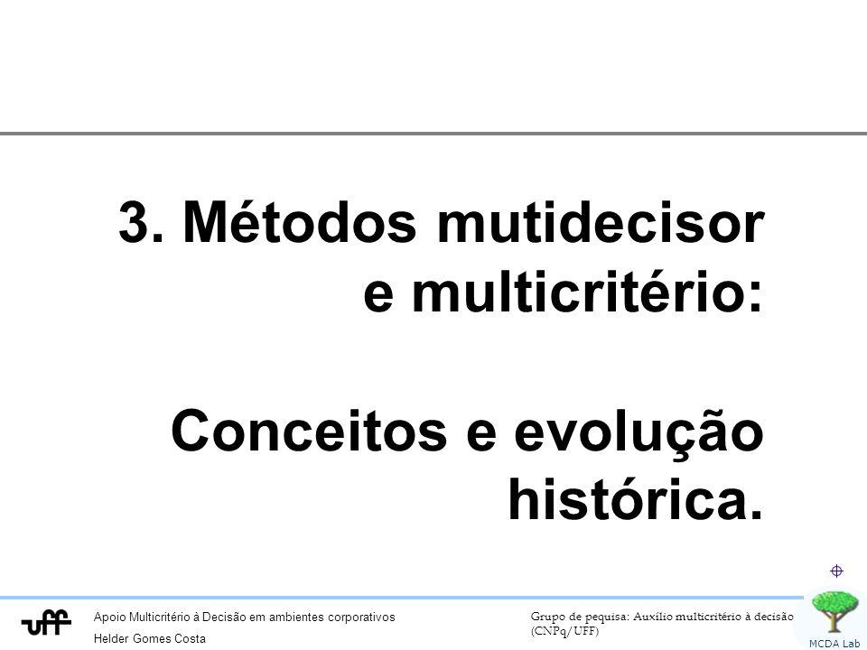 3. Métodos mutidecisor e multicritério: