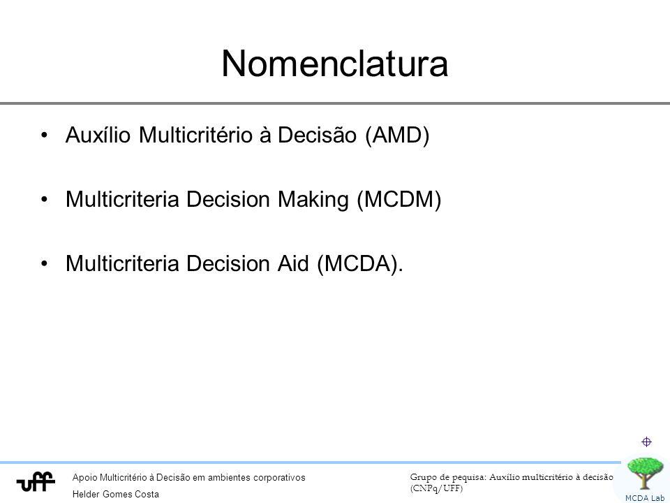 Nomenclatura Auxílio Multicritério à Decisão (AMD)