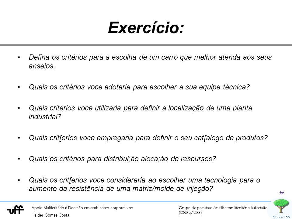Exercício: Defina os critérios para a escolha de um carro que melhor atenda aos seus anseios.