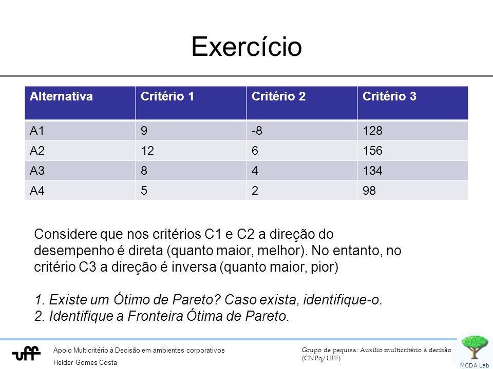 Exercício Alternativa. Critério 1. Critério 2. Critério 3. A1. 9. -8. 128. A2. 12. 6. 156.