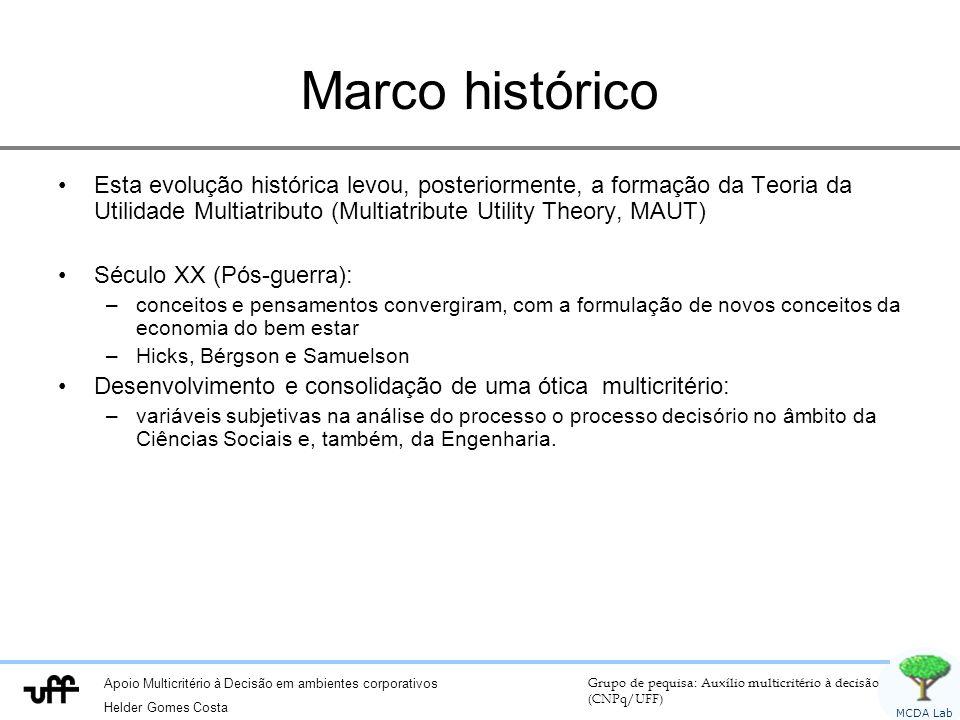 Marco histórico Esta evolução histórica levou, posteriormente, a formação da Teoria da Utilidade Multiatributo (Multiatribute Utility Theory, MAUT)