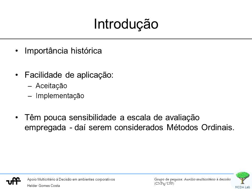 Introdução Importância histórica Facilidade de aplicação:
