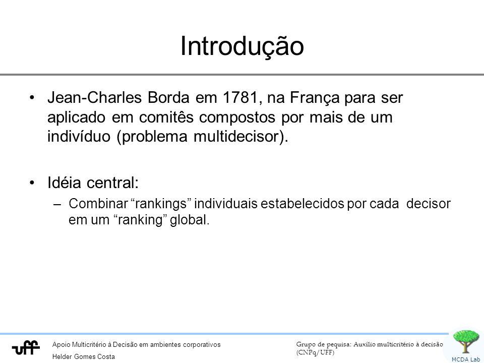 Introdução Jean-Charles Borda em 1781, na França para ser aplicado em comitês compostos por mais de um indivíduo (problema multidecisor).