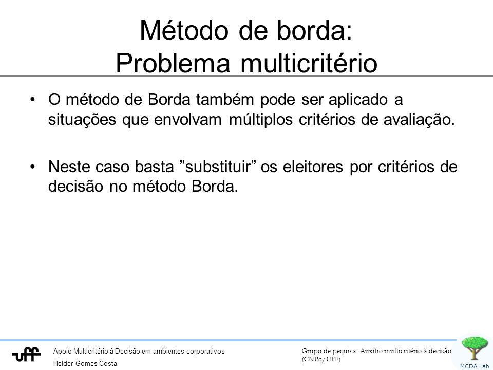 Método de borda: Problema multicritério