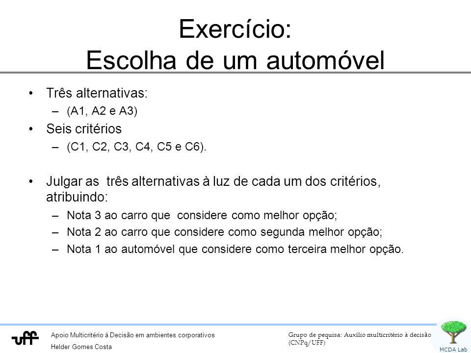 Exercício: Escolha de um automóvel