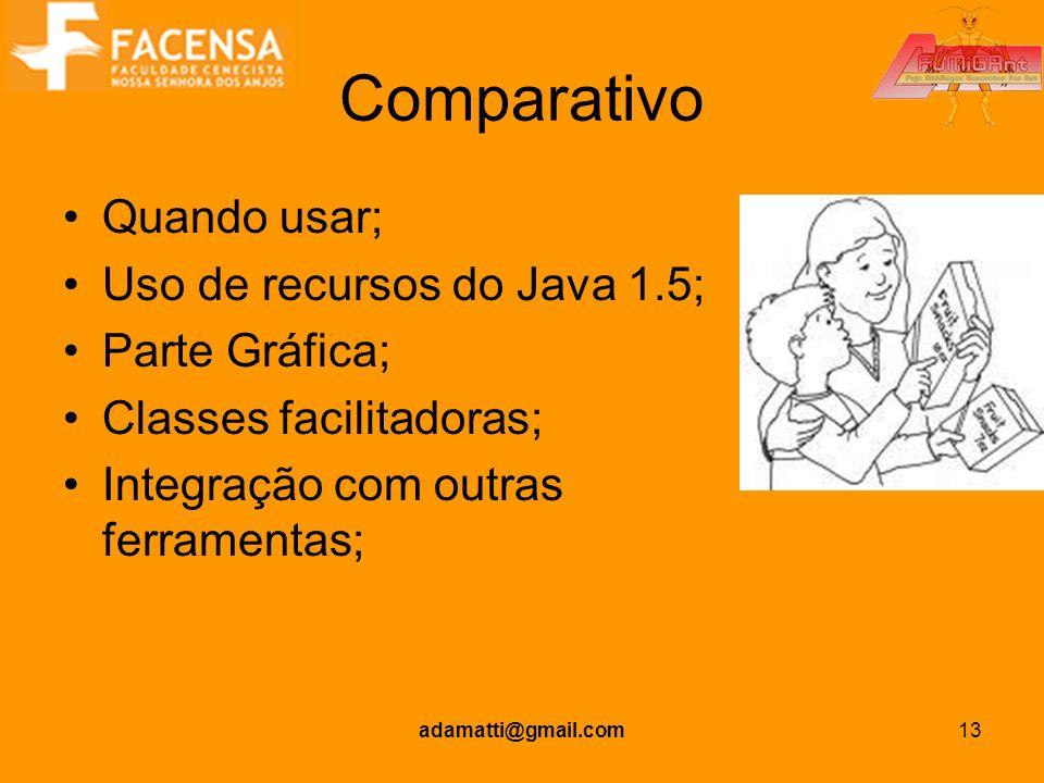 Comparativo Quando usar; Uso de recursos do Java 1.5; Parte Gráfica;