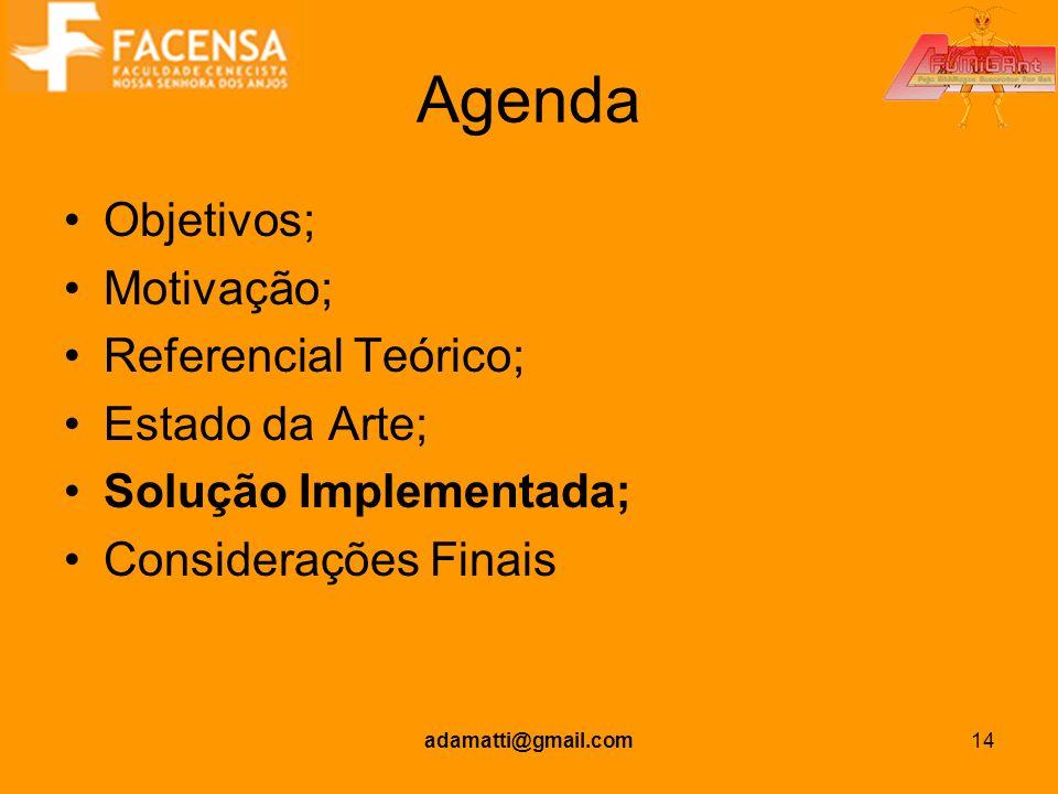 Agenda Objetivos; Motivação; Referencial Teórico; Estado da Arte;