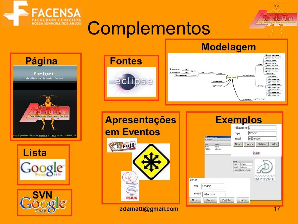 Complementos Modelagem Página Fontes Apresentações em Eventos Exemplos