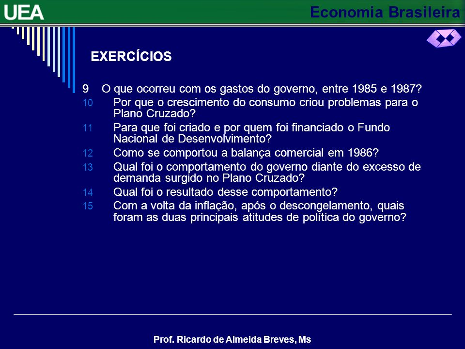 EXERCÍCIOS 9 O que ocorreu com os gastos do governo, entre 1985 e 1987 Por que o crescimento do consumo criou problemas para o Plano Cruzado