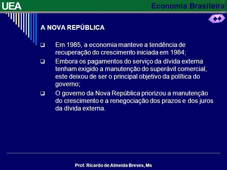 A NOVA REPÚBLICA Em 1985, a economia manteve a tendência de recuperação do crescimento iniciada em 1984;