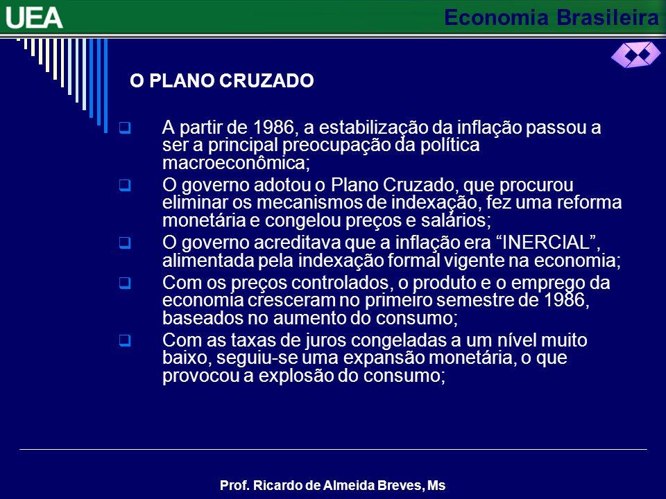 O PLANO CRUZADO A partir de 1986, a estabilização da inflação passou a ser a principal preocupação da política macroeconômica;