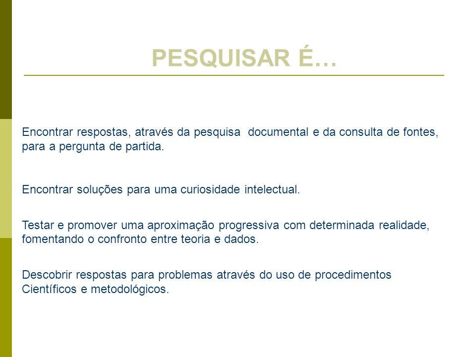 PESQUISAR É… Encontrar respostas, através da pesquisa documental e da consulta de fontes, para a pergunta de partida.