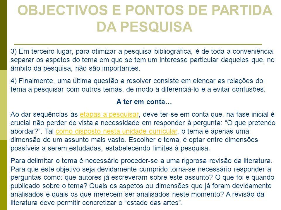OBJECTIVOS E PONTOS DE PARTIDA DA PESQUISA