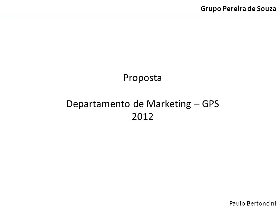 Departamento de Marketing – GPS 2012