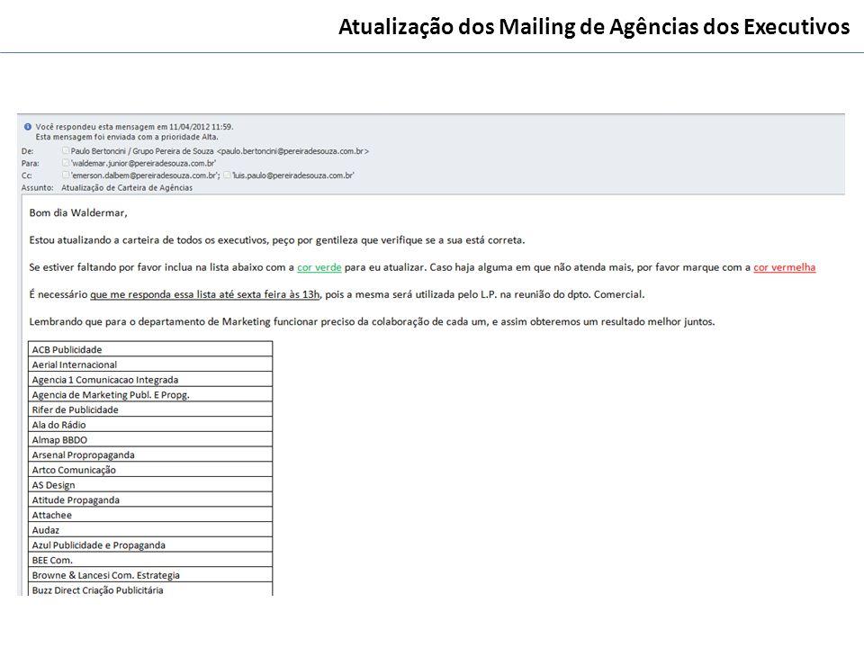 Atualização dos Mailing de Agências dos Executivos
