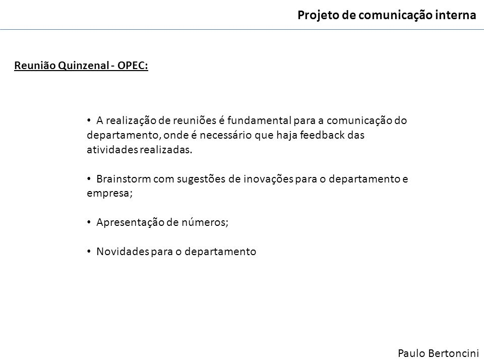 Projeto de comunicação interna