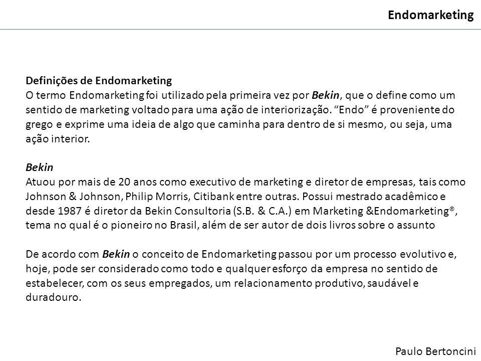 Endomarketing Definições de Endomarketing
