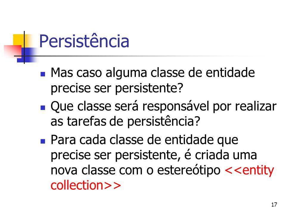 Persistência Mas caso alguma classe de entidade precise ser persistente Que classe será responsável por realizar as tarefas de persistência