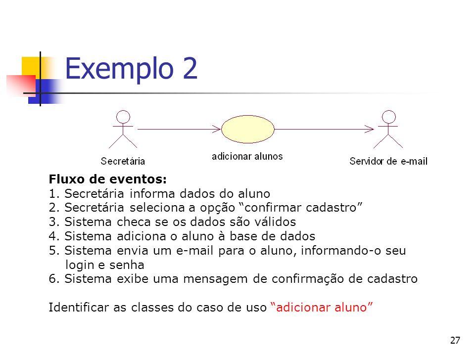 Exemplo 2 Fluxo de eventos: 1. Secretária informa dados do aluno