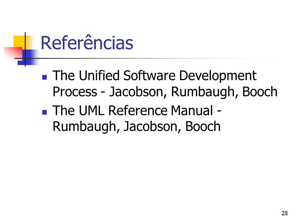 Referências The Unified Software Development Process - Jacobson, Rumbaugh, Booch.