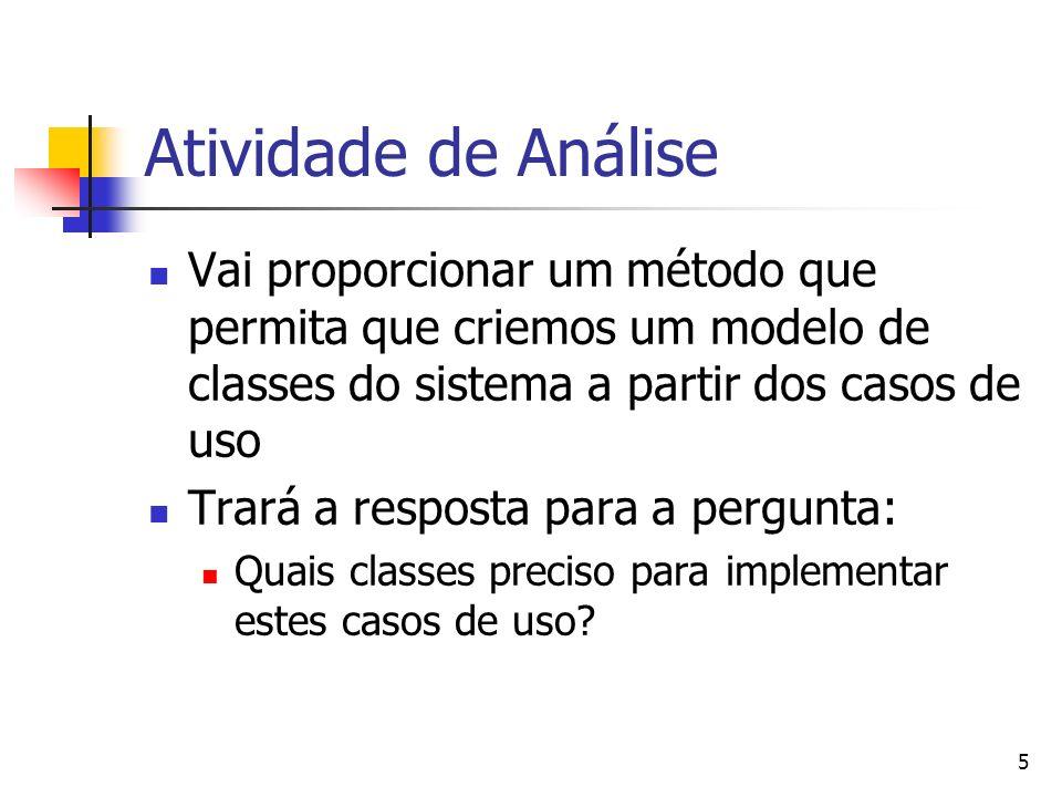Atividade de Análise Vai proporcionar um método que permita que criemos um modelo de classes do sistema a partir dos casos de uso.