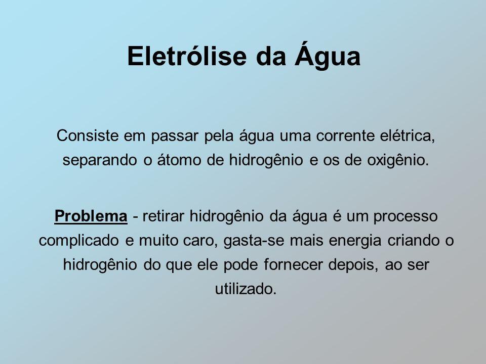 Eletrólise da Água Consiste em passar pela água uma corrente elétrica, separando o átomo de hidrogênio e os de oxigênio.